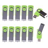 LHN® (Bulk 10 Pack) 1GB Swivel USB Flash Drive USB 2.0 Memory Stick (Green)