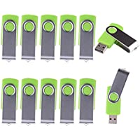 LHN® (Bulk 10 Pack) 8GB Swivel USB Flash Drive USB 2.0 Memory Stick (Green)