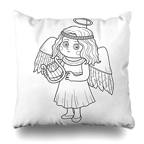KJONG Coloring Book Children Halloween Characters Angel Coloring Book Autumn Square DecorativePillow Case 18 x 18inch Zippered Pillow Cover for Bedroom Living Room(Two Sides Print)]()