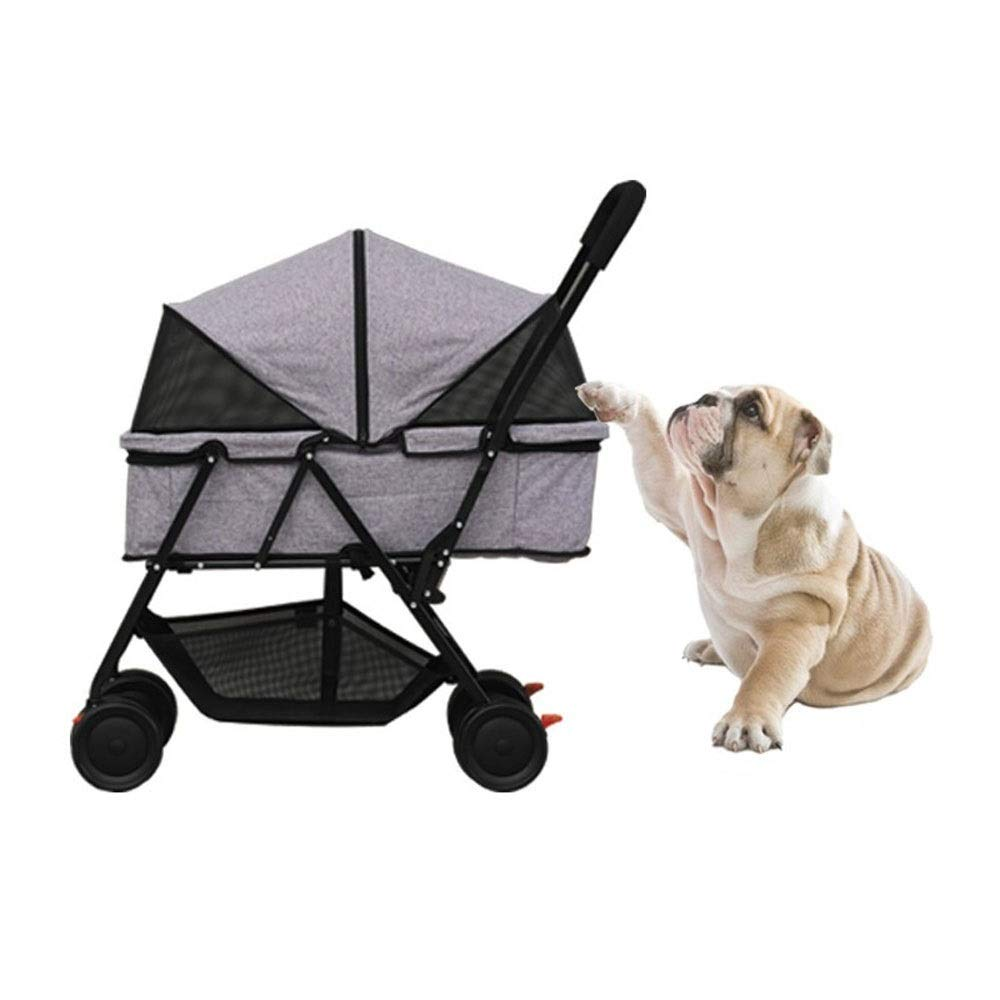 Pet Four-Wheeled Trolley Pet Cart Foldable Cats Dogs Carts Shockproof Durable Stroller Pet Travel Stroller One Touch to Assemble with Storage Basket for 30kg