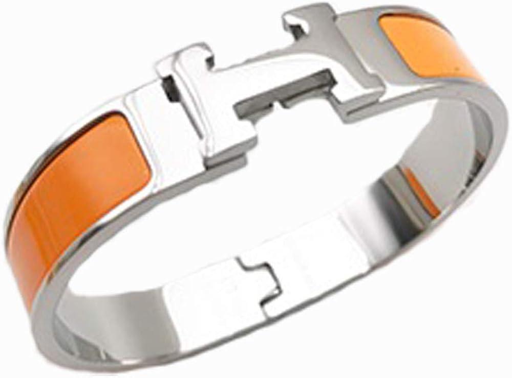 "Unisex Women/'s Stainless Steel Orange PU Leather Bracelet Black Beads 8/"""