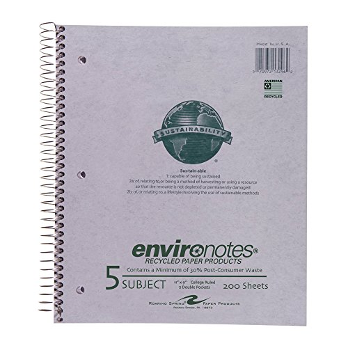 (Roaring Spring Recycled Wirebound Notebook, Five Subject, 11