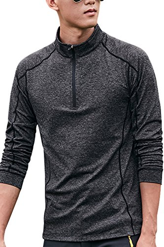 SENSERISE Mens Performance 1/4 Zip Pullover Long Sleeve Dry Fit Fleece Lining Top(Black,Large)