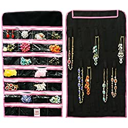 Wrapables Hanging Jewelry Organizer with 21 Holding Loops and 28 Zippered Pockets, Black
