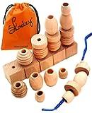 25 Natural Wood Blocks Lacing Beads by Skoolzy - Montessori Materials Preschool Toys Waldorf Motor Skills Stacking Building OT