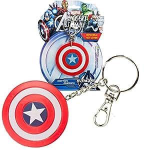 NJ Croce US NJ Croce USKEYNJC001 Abysse Marvel Bendable Captain America's Shield Keychain, Red, S