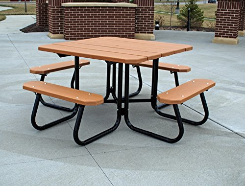 Frog Furnishings Square Picnic Table, 4', Brown