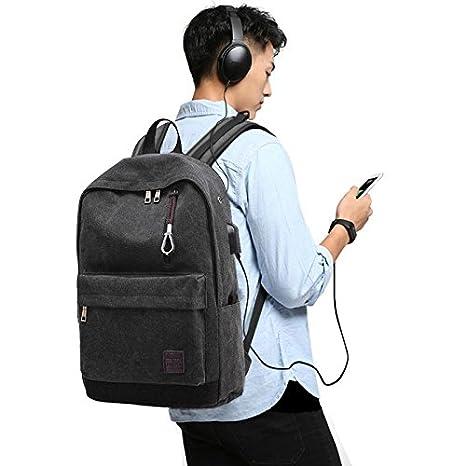 Mochila de lona para hombre, BeGreat bolsa de ordenador, de ocio y práctica, con USB y agujero de auriculares, para viajes, escuela, aire libre - negro: ...