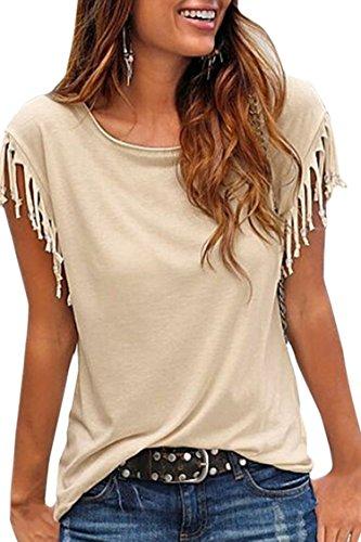 Cutiefox Womens Round Neck Tassel Fringe Short Sleeve T-Shirt Top Khaki S