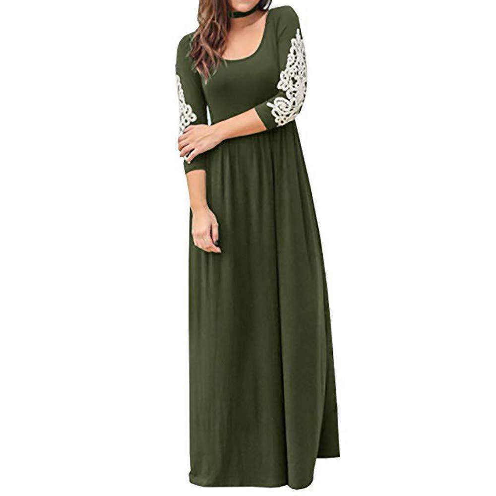 Women Graceful Maxi Dress,Women Solid Applique Three Quarter Sleeve Patchwork High Waist Boho Long Maxi Dresses(S,Army Green)