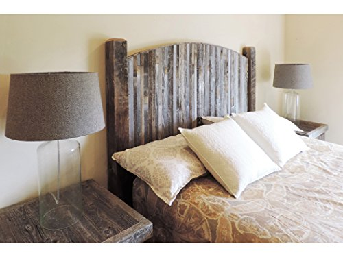 Farmhouse Style Arched Queen Bed Barn Wood Headboard w/ Narrow Rustic Reclaimed Wood Slats (Barn Wood Headboard compare prices)