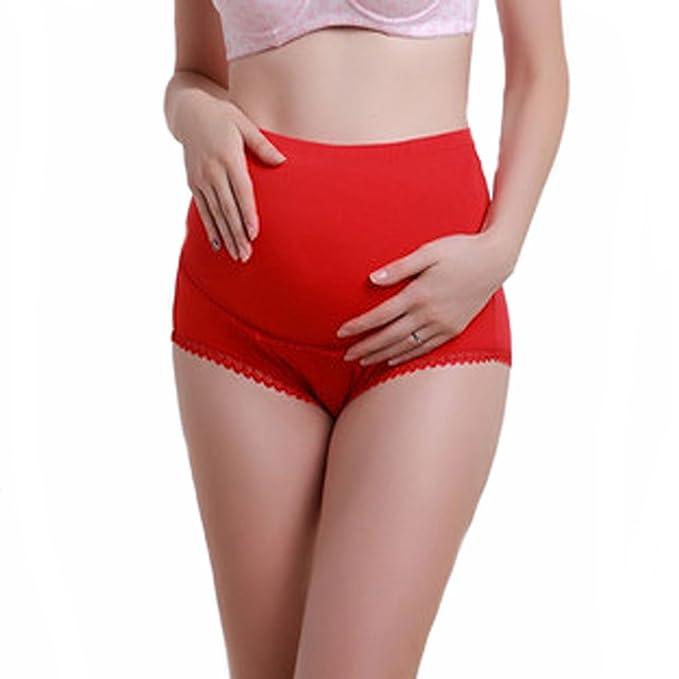 Zhhaijq Ropa interior de algodón rojo abdominal Ajustable de para mujeres embarazadas