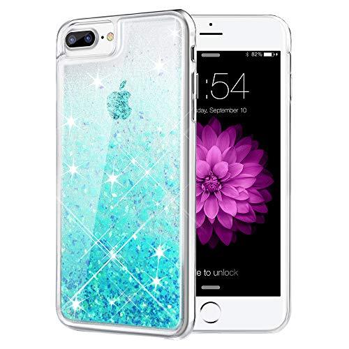 iPhone 7 Plus Case, Caka iPhone 7 Plus Glitter Case Flowing Luxury Bling Glitter Sparkle Liquid Floating Soft TPU Case for iPhone 7 Plus/8 Plus (5.5 inch) - (Aqua Blue)
