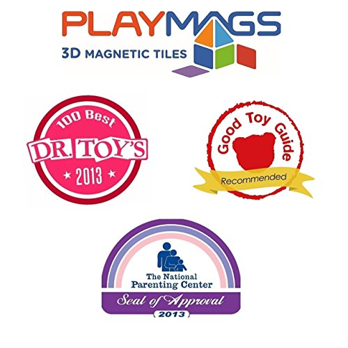 Playmags 100 Piece Super Set: With Strongest Magnets Guaranteed, Sturdy, Super Durable with Vivid Clear Color Tiles. 18-piece Clickins Accessories to Enhance your Creativity by Playmags (Image #5)