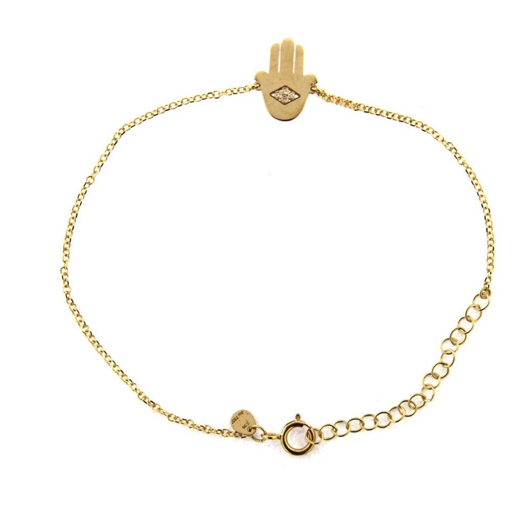 18K Yellow Gold Four Diamonds Center Hamsa Bracelet 7 inches