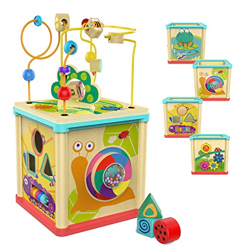 TOP BRIGHT Wooden Activity Cube Toys for 1 Year Old Girl, Baby Bead Toy for Toddlers, One Year Old Boy Gifts Birthday ()