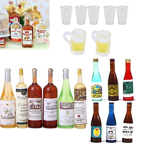 Set of 6Pcs Colorful Wine Bottles Dollhouse Miniature 1:12 Scale TB Decor ^P