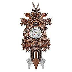QZY Cuckoo Wall Clock Bird Alarm Clock Wood Hanging Clock Time for Home Restaurant Unicorn Decoration Art Vintage Swing Living Room,D