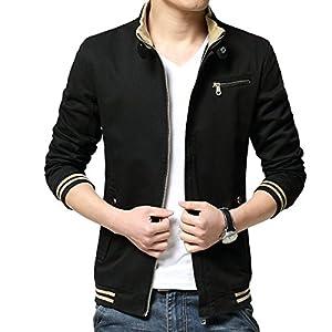 LOGEEYAR Men's Cotton Stand Collar Casual Long Sleeve Front Zip Jacket