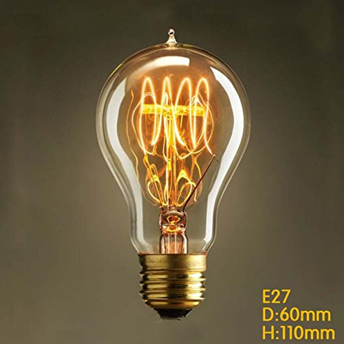 RSEN Vintage Edison Light Bulb Incandescent Lamp E27 Dimmable 40W 300lm  2300K A19 Straight Tungsten Lamp