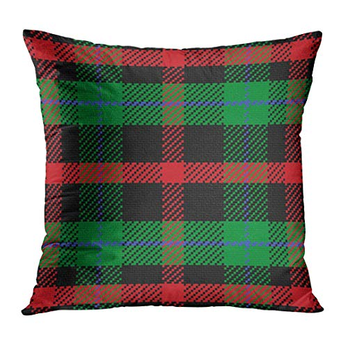 Plaid Scottish Tartan 5 Black Red Blue Green Watch Abstract Decorative Pillow Case Home Decor Square 18x18 Inches Pillowcase