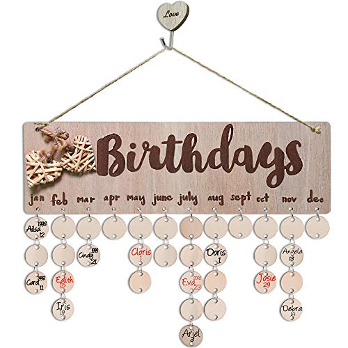 YuQi Gifts for Mom- Family Birthday Tracker Calendar Board,DIY Birthday Reminder Perpetual Calendar Plaque Wall Hanging With Ornaments for Home Bar Classroom Wall Decor- Personalized Birthday Presents (Home Decor For Grandma)