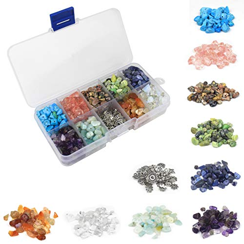 Chips Gemstone Bead Silver Necklace (1000 Pcs Chip Gemstone Beads Healing Crystals Crushed Irregular Shaped Beads with Box for Jewelry Making)
