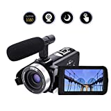 Camcorder Video Camera Full HD 1080p 24.0MP Digital Camera External Microphone Video Recorder Night Vision Webcam with Remote Control