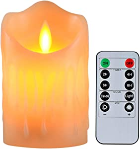 "Flameless Candles with 10 Key Remote Timer Flickering Tear Wave Shaped Tealight Size 3"" 4"" 5"" 6"" 7"" 8"" Real Wax Simulate Dripping led Candles Battery Operated Safe for Indoor Decor (3""x4"")"