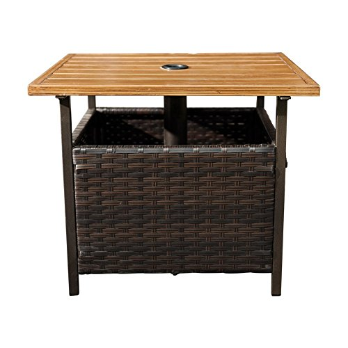 SunLife Patio Wood-Grain Side Table with Umbrella Hole/Umbrella Base Stand, Outdoor Furniture Bistro Table/PE Resin Wicker For Sale
