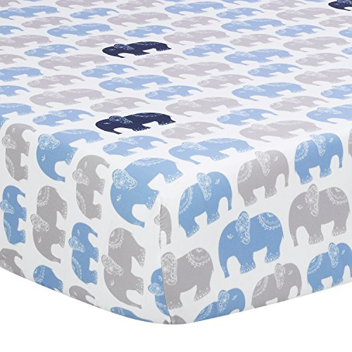 TILLYOU Silky Soft Microfiber Printed Crib Sheet, Elephant Pattern Toddler Sheets for Baby Boys and Girls, Breathable Cozy Hypoallergenic, 28 x 52in, 1 Pack Navy Elephant