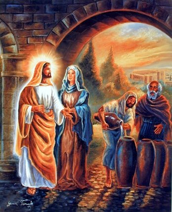 The Principal Miracle of Jesus Christ At Wedding Religious Wall Decor Art Print Picture (8x10)