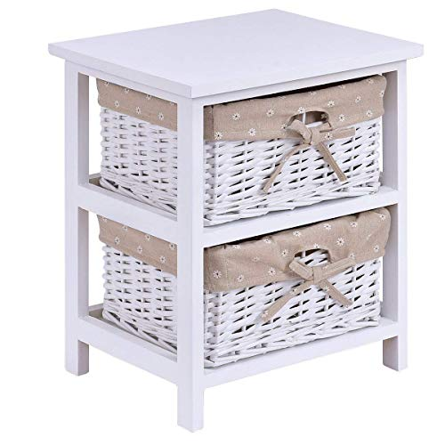 Casart Wooden Bedside Table Cabinet Bedroom Furniture W/ 2 Wicker Rattan Drawers