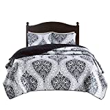 Black and White Duvet Set Comfort Spaces - Coco Mini Quilt Set - 3 Piece - Black and White - Printed Damask Pattern - Full/Queen Size, Includes 1 Quilt, 2 Shams