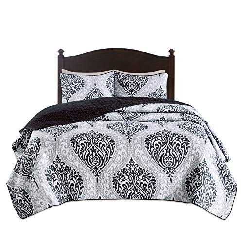 Comfort Spaces Coco 3 Piece Quilt Coverlet Bedspread Ultra Soft Printed Damask Pattern Hypoallergenic Bedding Set, Full/Queen, Black