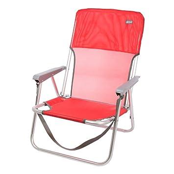 Aktive 53966 Silla Plegable Fija Aluminio Beach, 40 x 56 x 70 cm, Rojo