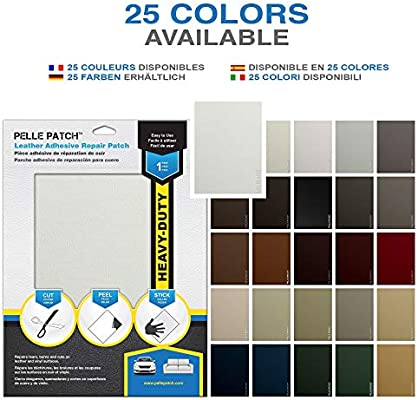 Leather /& Vinyl Adhesive Repair Patch Pelle Patch 25 Colors Available Black Heavy-Duty 8x11
