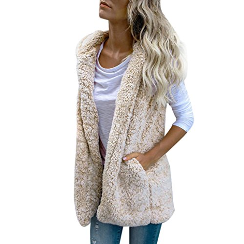 WensLTD Womens Vest Winter Warm Fleece Jacket Long Coat Hooded Vest with Side Pockets (XL, Beige) (Vest Womens Hooded)