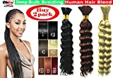 Deep Bulk Braiding Hair, Human Hair blend, Micro Braids, Hot Selling, Length 18', 2 PACKS Color #1 Jet Black