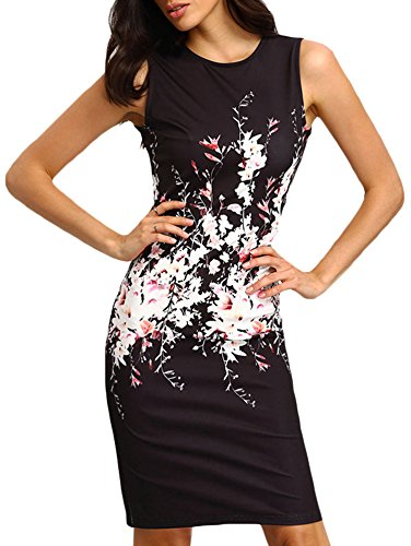 Elevesee Women's Floral Bodycon Cocktail Party Summer Dresses Black Small