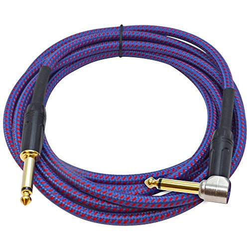 - Seismic Audio - SASGC-RB10-10 Foot Supreme Guitar or Instrument Cable - Royal Blue Woven Tweed Jacket- 10' Pro Audio 1/4 Inch TS Straight to Right Angle Guitar Cord