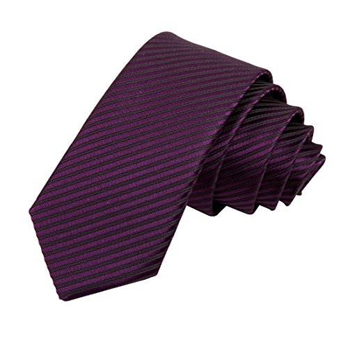 - Purple skinny tie lot creative Stripes Slim necktie Matching Gift Box Set By DAN SMITH DAE1015  Purple