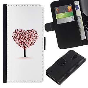 iKiki Tech / Cartera Funda Carcasa - Heart Tree Autumn Fall White Love Deep - Samsung Galaxy S4 I9500