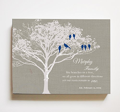 MuralMax Personalized Family Tree & Lovebirds, Stretched Canvas Wall Art, Make Your Wedding & Anniversary Gifts Memorable, Unique Wall Decor, Color Taupe - Size 10 x 8-30-DAY]()