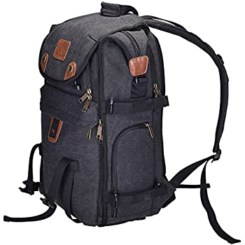 """Camera Bag, DIGIANT 21"""" x 7.8"""" x 13.5"""" DSLR Backpack Canvas Camera Case with Rain Cover, Camera Backpack Rucksack for Cameras, Lenses, Laptop/Tablet & Photography Accessories"""