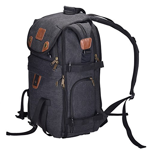 "Price comparison product image DIGIANT Camera Bag 21"" Waterproof Canvas Camera Case, High-End Camera Backpack Rucksack for SLR/DSLR Cameras, Lenses, Laptop/Tablet & Photography Accessories- Best Stylish Travel Camera Equipment Bag"
