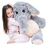 "ikasa 39"" giant elephant stuffed animal plush toys gifts for kids girlfriend"