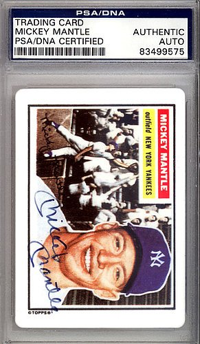Mickey Mantle Autographed Signed 1956 Topps Ceramic Card New York Yankees - PSA/DNA Certified