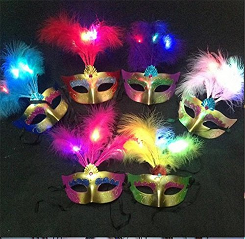 [LED Light Venetian Costume Party Mask Masquerade Plastic Metallic Halloween Masks] (Halloween Costumes With Mask)
