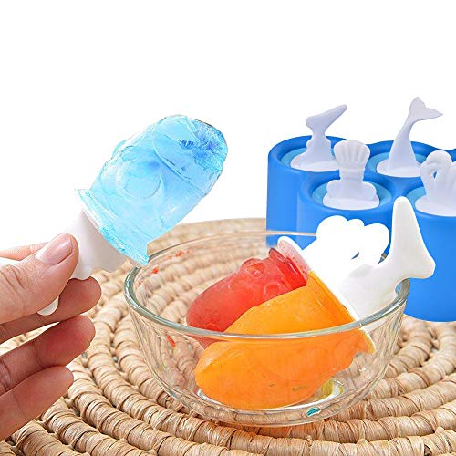 (Fish Pop Molds, Easily Removable Ice Cream Tray Holder, 6 Different Easy-release BPA-Free Silicone Popsicle Molds in One Tray for Baby, Kids, Family,)